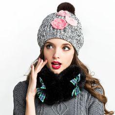 Hairball beanie hats flower decoration winter hats for women