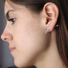 Archery Earring (14k Gold with Diamonds)