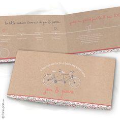 """Faire-part Mariage """"Liberty"""" Thème Timeline Vintage and Vélo Tandem"""