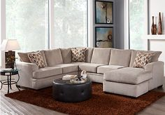 Sierra View Platinum Sectional Set includes 2 Pc W x x Chaise: Find affordable Living Room Sets for your home that will complement the rest of your furniture. Rooms To Go Furniture, Living Room Furniture Layout, Living Room Interior, Home Living Room, Living Room Designs, Luxury Furniture, Den Furniture, Furniture Dolly, Sectional Living Room Sets