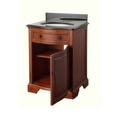Pegasus Manchester 25 in. Vanity in Mahogany with Granite Vanity Top in Black-MNGVT2421 at The Home Depot