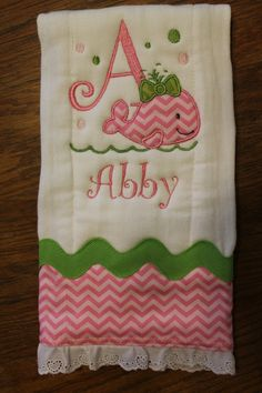 Personalized and appliqued burp cloth baby girls with whale. $16.00, via Etsy.