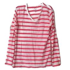 Cuffy's Tee Top Pink White Stripe Womens Extra Large XL