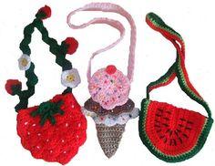 CV022 Keepin' Cool Little Purses - http://www.maggiescrochet.com/keepin-cool-little-purses-p-1903.html #crochet #pattern #watermelon #strawberry #purses #girls #little #cute #design
