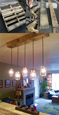 Are you looking for rustic lighting ideas to give your home a rustic look? I have here amazing rustic lighting ideas to give your home a rustic look. Deco Luminaire, Luminaire Design, Luminaire Vintage, Pallet Light, Wooden Pallet Projects, Diy Pallet, Wooden Pallets, Pallet Crafts, Pallet Wood