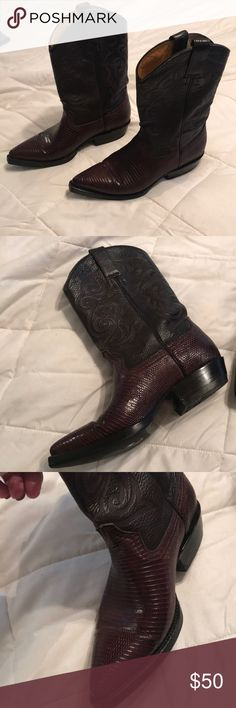 Leather cowboy boots Dark cognac color with dark contrast upper mid calf Utopia Africa Designs Shoes Heeled Boots