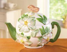 Floral Spring Magnolia Cermaic Kitchen Teapot