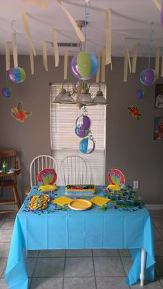 blue and yellow tropical beach themed birthday party I did for my niece. I did not make this cake.