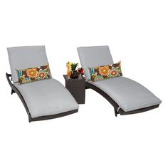 TK Classics Bali Adjustable Outdoor Chaise Lounge with Side Table - Set of 2 Chairs and Cushion Covers Gray - BALI-2X-ST-GREY