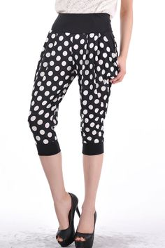 Casual Polka Dot Elastic Waist Polyester Regular Pants