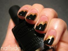 Black, pink, and gold Nails