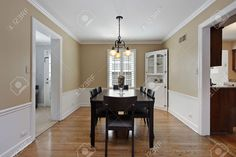 Dining room in suburban home with tan walls
