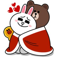 Brown and Cony are back, and this time they're cuddling up for winter! Cozy up next to the fireplace and warm your heart with these stickers! Line Cony, Cony Brown, Brown Bear, Cute Art, Sweet Love Quotes, Love Is Sweet, Cute Love, Bunny And Bear, Brown Line