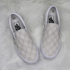 White Slip On Vans, Vans Slip On, Slip On Shoes, Custom Vans Shoes, Mens Vans Shoes, Vans Men, Gucci Slip On Sneakers, Gucci Shoes, Shoes Sneakers