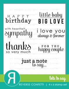 Reverse Confetti LOTS TO SAY Clear Stamp Set  Preview Image