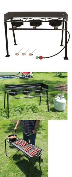 Camping Stoves 181386 Tall 3 Burner Lp Gas Camp Stove Portable Equipment Outdoor Cooking