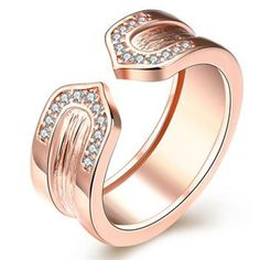 White Engagement Rings Classic Rose/White Gold Color with Geometric Cubic Zirconia Ring Fashion Elegant Jewelry for Women