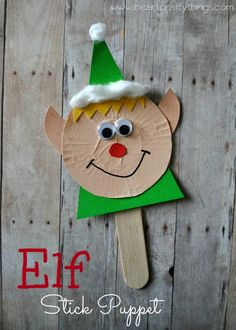 15 Fun Elf Crafts for Kids to Make! A delightful collection of Elf Crafts for Christmas- cookies, ornaments, paper plate crafts, pine cone crafts and more! Preschool Christmas, Christmas Activities, Christmas Crafts For Kids, Craft Stick Crafts, Christmas Projects, Kids Christmas, Holiday Crafts, Fish Crafts, Plate Crafts
