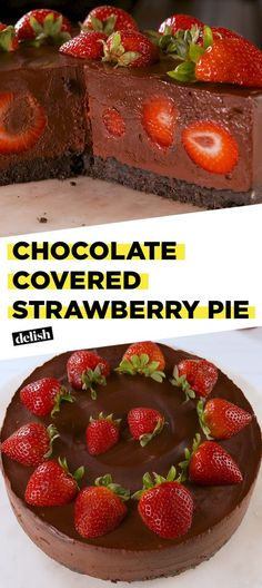 Chocolate Covered Strawberry Pie is the no-bake dessert you'll make on repeat all summer. Get the recipe at Delish.com. #recipe #easy #easyrecipe #pie #chocolate #berries #strawberry #strawberries #oreo #dessert #dessertrecipe #fruit #nobake