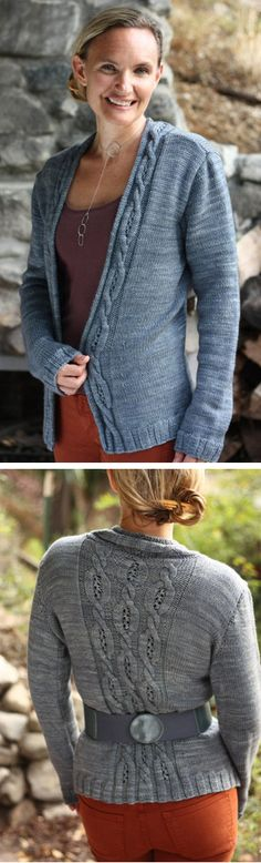 """Knitting pattern for Moonshiner Cabled Cardigan Sweater by mindofwinter Finished measurements 31 ¼ (34 ½, 37 ½, 40 ¾ / 43, 46, 49 ¼ / 52 ¼, 55 ½, 58 ½)"""" 79.5 (87.5, 95.5, 103.5 / 109, 117, 125 / 132.5, 141, 148.5) cm bust circumference. More pics on Etsy (affiliate link) tba"""