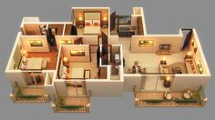 20 Stylish Modern Home Floor Plans - Architecture & Design 3d House Plans, Model House Plan, House Layout Plans, House Layouts, The Plan, Small House Design, Modern House Design, Three Bedroom House Plan, Bungalow Haus Design