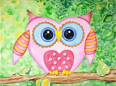 NEW adorable young owl watercolor painting! AnniesDoodlebugz.com