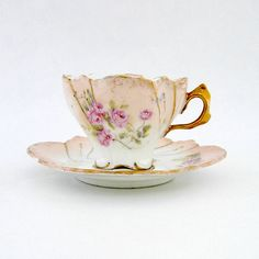 Antique Child's Cup and Saucer Porcelain by RosaMeyerCollection