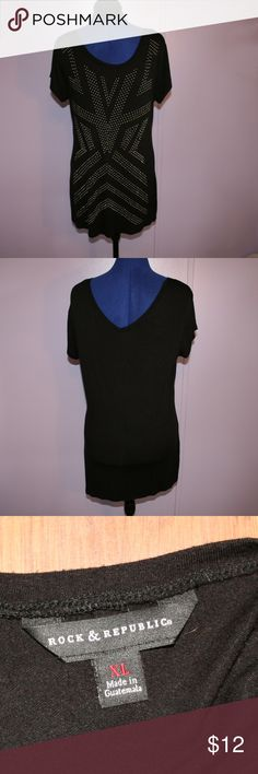 Embellished black tunic Very soft black tunic that has little gray half bead like embellishments.  There are maybe 5 of them missing on lower side of the top, but you can't really tell since there are low and on the side.  95% rayon and 5% Spandex.  Top is 27 inches long from center of the front neckline.  Bust is 40 inches without any stretch. Rock & Republic Tops Tunics