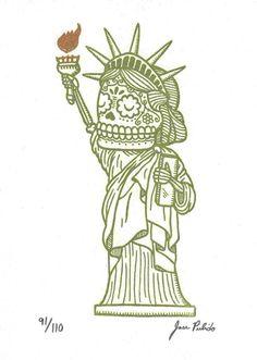 Calavera de la estatua de la libertad por José Pulido