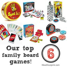 We love family game night in our household! Here are our 6 favorite board games to play!