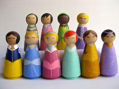 The whole set ....  3.5 inch princesses set  // 10 official princesses // wooden peg toy or decoration.