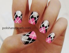Argyle Nails Picture from Nail Designs. Pink, Silver, Black, And white Argyle nails. It reminds me of Rebecca from glee Plaid Nail Art, Plaid Nails, Love Nails, Pretty Nails, Fun Nails, Nail Designs Pictures, Nail Art Designs, Argyle Nails, Manicure