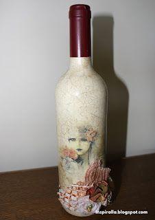 Alicja w Krainie Decoupage...: Butelka z winem na ślub