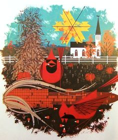Cardinal Cornucopia, Charley Harper - the best thing that happened to birds since sugar water!