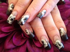 Charcoal grey polish with one stroke flower freehand nail art on acrylic nails