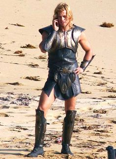 "Brad Pitt as Achilles in ""Troy"", a 2004 American epic war film. The film was nominated for the Academy Award for Costume Design"