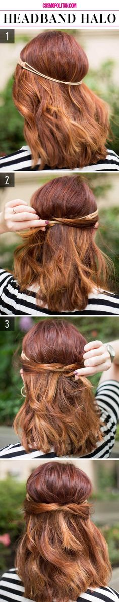 "These lazy hairstyles look so doable. You can master them in two to three steps., Lazy Hairstyles, "" These lazy hairstyles look so doable. You can master them in two to three steps. Source by Cosmopolitan. Lazy Girl Hairstyles, Super Easy Hairstyles, Chic Hairstyles, Hairstyle Look, Fringe Hairstyles, Wedding Hairstyles For Long Hair, Older Women Hairstyles, Step By Step Hairstyles, Hair Wedding"
