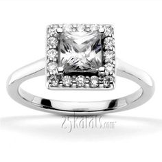 princess cut halo ring setting | Halo Engagement Rings, Loose Diamonds at Factory Direct Prices. - page ...