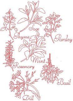 Advanced Embroidery Designs - Herb Redwork Set