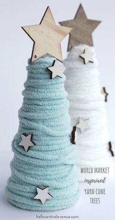 World Market inspired wool cone trees-easy diy and so much less expensive! World Market inspired wool cone trees-easy diy and so much less expensive! Cone Trees, Cone Christmas Trees, Christmas Tree Crafts, Christmas Projects, Holiday Crafts, Christmas Decorations, Christmas Ornaments, Fun Projects, Christmas Ideas