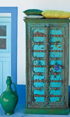 reclaimed turquoise wood furniture