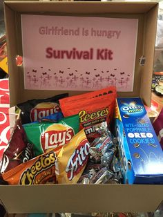 You can keep this girlfriend survival kit in your car for whenever your girlfriend gets hungry. You can create it with snacks that your loved one likes #boyfriendbirthdaygifts
