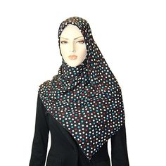 Black with White, Blue, and Burgundy Polka Dots Hijab / Scarf Only $10.99!