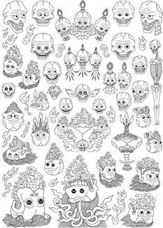 138-Skulls & skull offerings Tibetan Symbols, Buddhist Symbols, Tibetan Buddhism, Buddhist Art, Japanese Drawings, Japanese Art, Buddhist Symbol Tattoos, Buddha Drawing, Art Thai