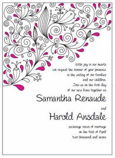 "Invitation 5"" x 7"" Portrait. Printable Wedding Invitations Paisley Samantha Suite: Pink and Black"