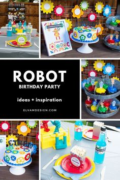 Upgrade in Progress at this Robot Birthday party. Find party ideas, printables, and more at elvamdesign.com | Elva M Design Studio. #robotbirthday #kidspartyideas