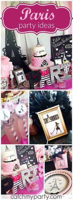 You have to see this pink and black Parisian soiree! See more party ideas at Catchmyparty.com!