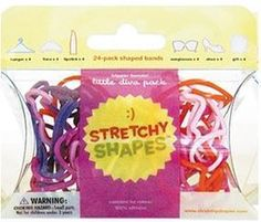 LITTLE DIVA Stretchy Shapes (Lipstick, Tiara, Gift) Rubber Band Bracelets 24pk