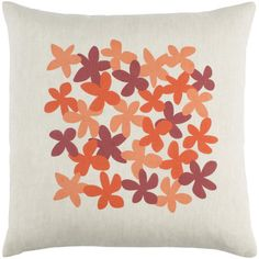 "emma at home by Emma Gardner Flying Colors Little Flower Linen Throw Pillow Size: 22"" H x 22"" W x 5"" D, Color: Bright Orange/Peach/Dark Red/Beige"
