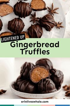 Gear up for the holiday season with these incredible Easy Gingerbread Truffles. Made with almond flour, ginger, honey, and chocolate, they're a sweet treat perfect for snacking... and gifting! Healthy Sweets, Healthy Dessert Recipes, Real Food Recipes, Delicious Desserts, Yummy Food, Healthier Desserts, Yummy Yummy, Dairy Free Recipes Easy, Sweet Recipes